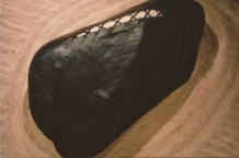 S & M Zen Garden gallery installation, detail, leather skinned boulder