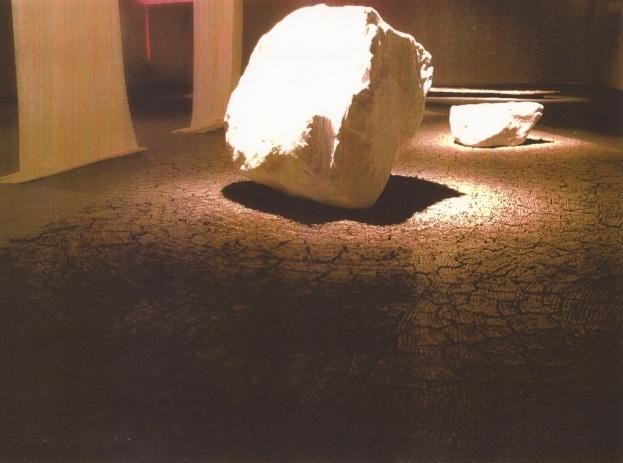 """""""skin"""", gallery installation - detail, 'Zen Garden', boulder skinned in velvet.  2001.jpg"""