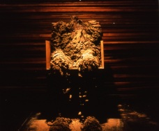 """Systems Within"" window installation - detail of the mudman, eroding.  1991.jpg"